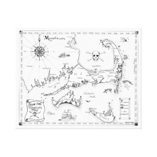 Cape Cod Treasure Map Canvas Print