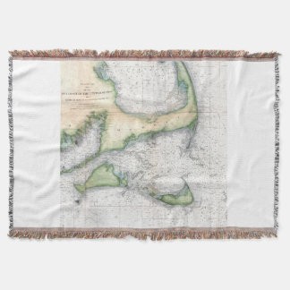 Cape Cod - Vintage Survey Map Throw Blanket