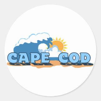 """Cape Cod """"Waves"""" Design. Round Sticker"""