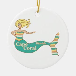 Cape Coral, FL Mermaid Ceramic Ornament