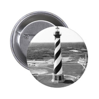 Cape Hatteras Lighthouse black and white photo 2 Inch Round Button