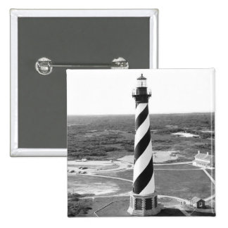 Cape Hatteras Lighthouse black and white photo 2 Inch Square Button