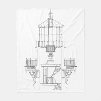 Cape Hatteras Lighthouse Lantern Room Blueprint Fleece Blanket