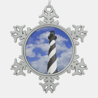 Cape Hatteras Lighthouse Painting Snowflake Pewter Christmas Ornament