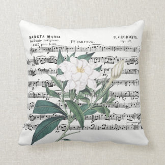 Cape Jasmine Redouté Illustration Throw Pillow