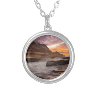 Cape Kiwanda Sunset Silver Plated Necklace