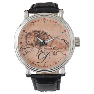 CAPE LION LYING DOWN,Antique Red Brown Monogram Watch
