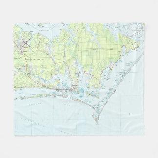 Cape Lookout National Seashore & Morehead City Map Fleece Blanket