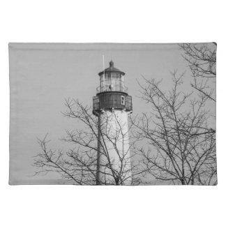 Cape May Light b/w Place Mat