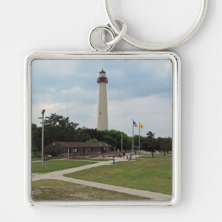 Cape May Lighthouse Silver-Colored Square Keychain