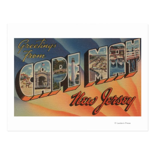 Cape May, New Jersey - Large Letter Scenes Postcard
