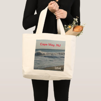 Cape May New Jersey Love Ocean Sand Large Tote Bag