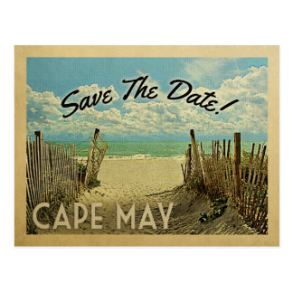 Cape May Save The Date Vintage Beach Nautical Postcard