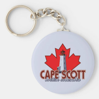 Cape Scott Lighthouse Basic Round Button Keychain
