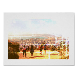 Cape Town Lion's Head Harbor Hiking Hikers Poster