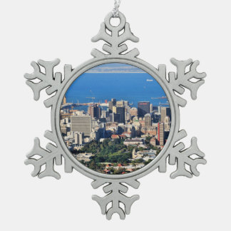 Cape Town, South Africa Snowflake Pewter Christmas Ornament