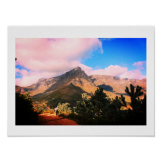 Cape Town Table Mountain Hikers Hiking View Poster