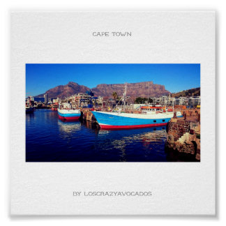 Cape Town Table Mountain Marina Harbor Boat Poster