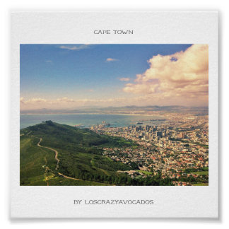 Cape Town Table Mountain Ocean Harbor View Poster