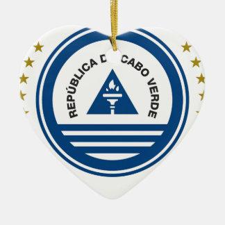 Cape Verde Coat of Arms Ceramic Heart Ornament