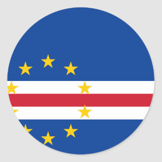 Cape Verde Flag CV Round Sticker