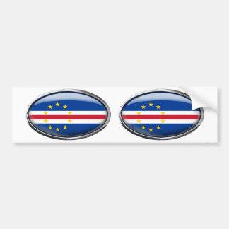 Cape Verde Flag Glass Oval Bumper Sticker