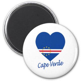 Cape Verde Flag Heart 2 Inch Round Magnet