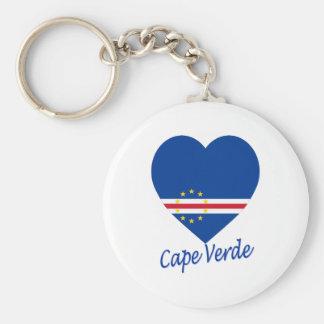 Cape Verde Flag Heart Basic Round Button Keychain