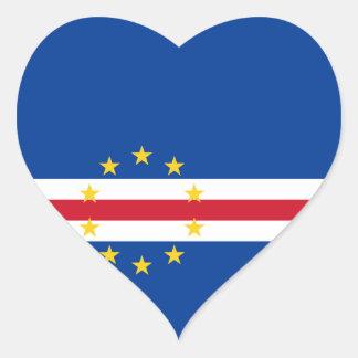 Cape Verde Flag Heart Sticker