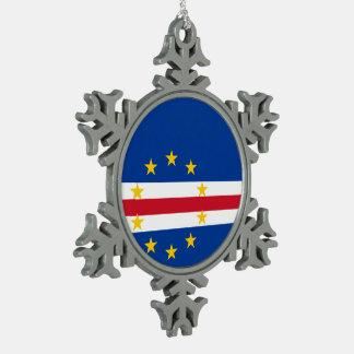 Cape Verde Flag Pewter Snowflake Ornament