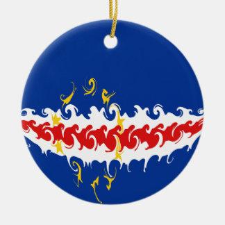 Cape Verde Gnarly Flag Round Ceramic Ornament
