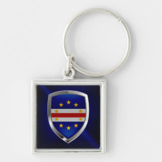 Cape Verde Mettalic Emblem Silver-Colored Square Keychain