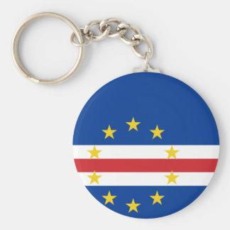 Cape Verde National World Flag Basic Round Button Keychain