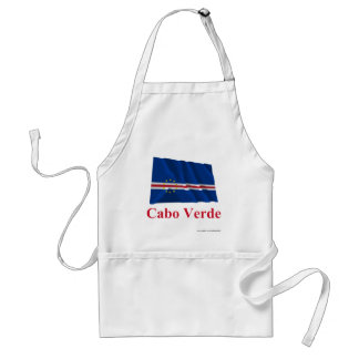 Cape Verde Waving Flag with Name in Portuguese Standard Apron