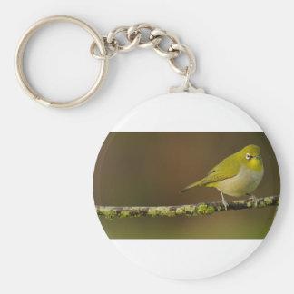 Cape White-Eye Bird Perched Keychain