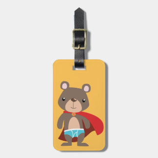 Caped Super Hero Bear Luggage Tag
