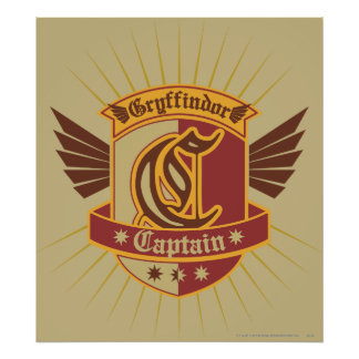 Capitaine Emblem de Gryffindor Quidditch Poster