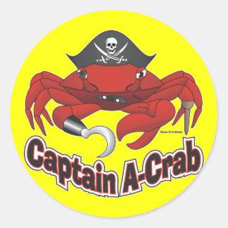 "Capitaine ""Un-Crabe "" Autocollant Rond"