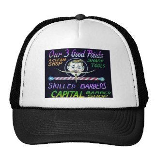 Capital Barber Shop Our 3 Good Points Vintage Trucker Hat