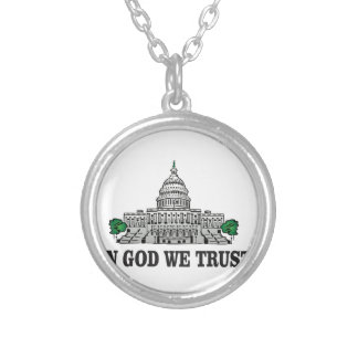 capital in god we trust silver plated necklace