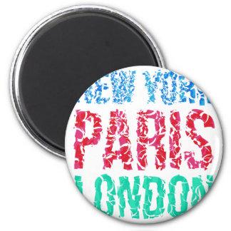 Capital New York Paris London typography, t-shirt 2 Inch Round Magnet