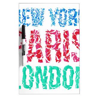 Capital New York Paris London typography, t-shirt Dry Erase Boards