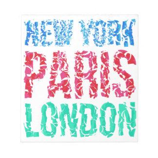 Capital New York Paris London typography, t-shirt Notepad