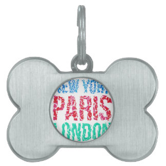 Capital New York Paris London typography, t-shirt Pet ID Tag
