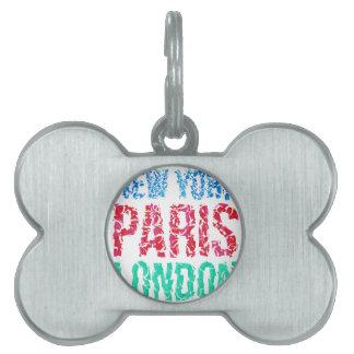 Capital New York Paris London typography, t-shirt Pet Tag