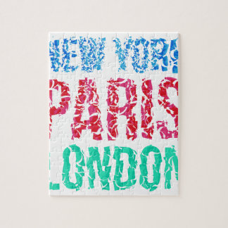 Capital New York Paris London typography, t-shirt Puzzles