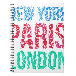 Capital New York Paris London typography, t-shirt Spiral Notebook