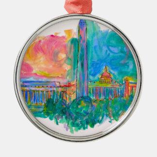 Capital Swirl Silver-Colored Round Ornament