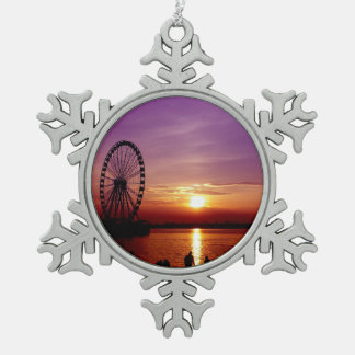 Capital Wheel at Sunset Snowflake Pewter Christmas Ornament