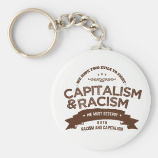 capitalism and racism basic round button keychain